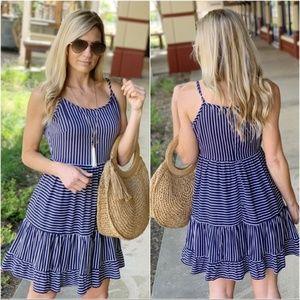 Infinity Raine Dresses - Navy Striped Cami Dress